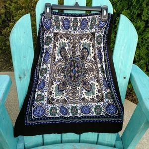 Strapless Black Blue Design Top Size L